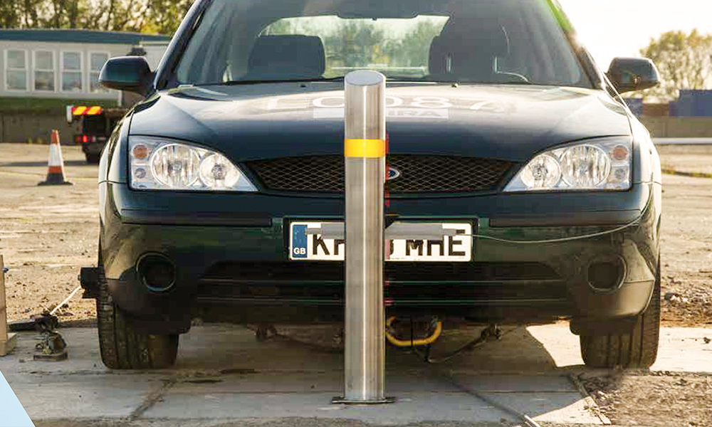 Street furniture as small bollards which are crash-tested and certified according to British standard PAS 68